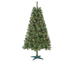 winter wonder lane 6 sentiments pre lit artificial christmas tree with clear lights big lots - Big Lots Christmas Trees