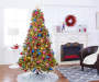7.5 Feet Park City Pre Lit Cashmere Artificial Christmas Tree in Living Room Setting Lifestyle Image