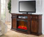 72 Inch Cherry Media Fireplace with TV and Fireplace Lit Room View