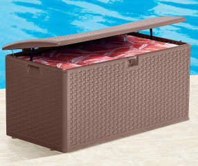 Brown Resin Wicker Outdoor Storage Box Big Lots