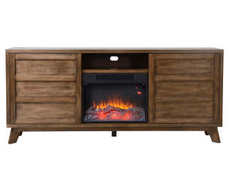 60 Quot Cherry Console Electric Fireplace Big Lots