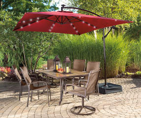 Wilson Amp Fisher Rectangular Offset Solar Light Umbrella