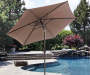 9 FT BROWN ALUMINUM UMBRELLA WITH SUNBRELLA FABRIC CANOPY