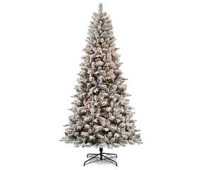 9ft Christmas Tree.9 Flocked Christmas Tree Pre Lit With Clear Lights Big Lots