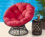ALL WEATHER WICKER SWIVEL PAPASAN CHAIR WITH CUSHION
