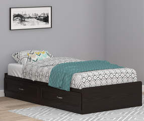 Ameriwood Andover Oak Espresso Twin Mates Storage Bed