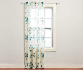 Just Home Nikita Aegean Crushed Voile Sheer Curtain Panel