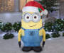 Airblown Minion Inflatable Dave with Santa Hat Outdoor