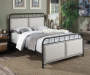 All in One Linen Upholstered Panel Queen Metal Bed bedroom setting