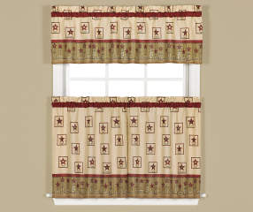 Living Colors Americana Tan Amp Red Kitchen Tier Amp Valance 3