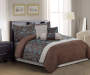 Annalise Jacquard Chocolate and Turquoise 7-Piece Queen Comforter Set Lifestyle Image