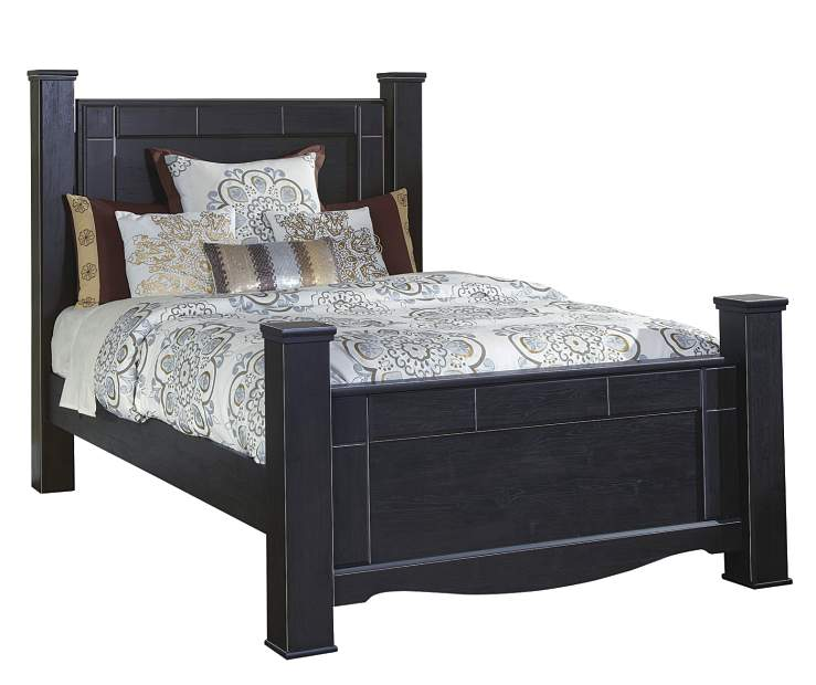 Annifern poster queen bed 4 piece set big lots for Queen bed frame and dresser set