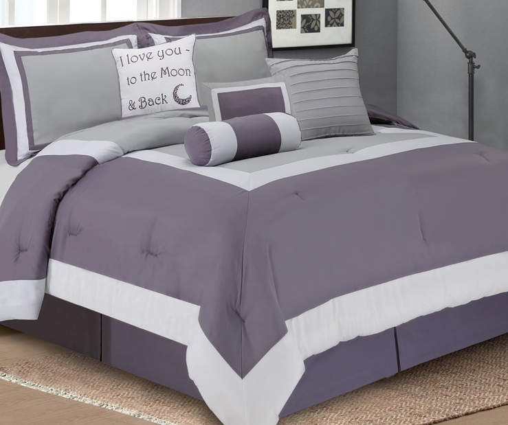 Aprima Hotel Purple Amp Gray 8 Piece Comforter Sets Big Lots
