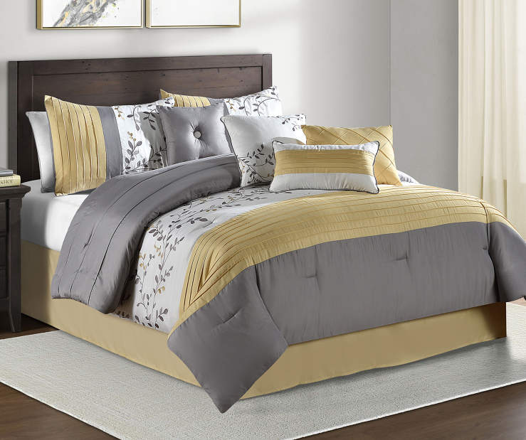 aprima foliage yellow gray 8 piece comforter sets big lots. Black Bedroom Furniture Sets. Home Design Ideas