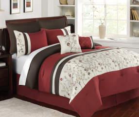 Aprima Harper Red Brown Amp White 7 Piece Comforter Sets