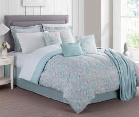 Calm Effects Aqua Blossom 12 Piece Reversible Comforter
