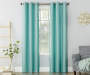 Aqua Montego Grommet Curtain Panel 84 Inches on Window Room Environment Lifestyle Image