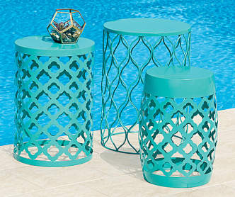 Turquoise Glass Citronella Candles With Metal Stakes 3