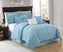Aqua Quilted 8 Piece Queen Comforter Set On Bed Room Environment Lifestyle Image