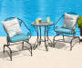 Aqua Relax Haven Outdoor Throw Pillow 20in lifestyle with patio set prop