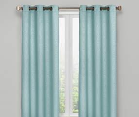 Living Colors Aqua Scroll Blackout Curtain Panel Pair 63