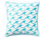 Aqua Waves Embroidery Outdoor Throw Pillow 20in x 20in silo front