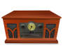Art and Sound Retro 6 in 1 Woodgrain Stereo Front View Silo Image