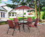 Ash Ridge Red 6 Piece Dining Set with Umbrella Lifestyle Image