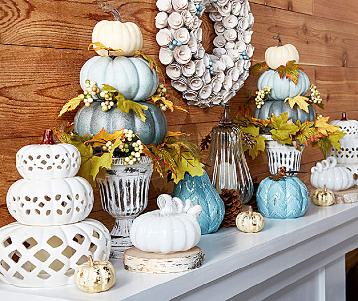 Autumn radiance harvest cottage mantel collection big lots - Pumpkin decorating ideas autumnal decor ...