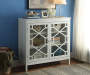 Ava White Geometric 2 Door Cabinet lifestyle