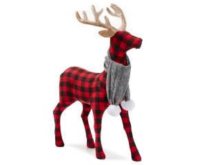 Winter Wonder Lane Buffalo Check Deer With Gray Scarf