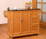 Bamboo 2 Door Kitchen Cart Lifestyle