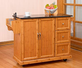 Bamboo 2 Door Kitchen Cart With 3 Drawers Big Lots