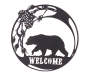 Bear Metal Welcome Wall Décor