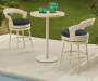 Beige and Navy Blue 3 Piece All Weather Wicker High Seating Bistro Set lifestyle