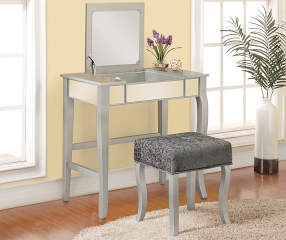 Betty Silver Mirror Vanity Set With Stool Big Lots