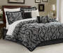 Black & Gray Jacquard Chenille 10 piece queen comforter set lifestlye