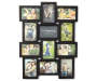 Black 12 Opening Collage Frame 4 Inches by 6 Inches Front View with Example Photos Silo Image