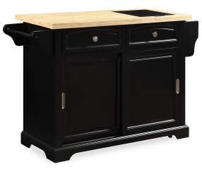 Black 2 Drawer Sliding Door Kitchen Cart Big Lots
