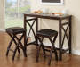 Black 3 Piece Breakfast Set with Table and Two Chairs in Room Setting