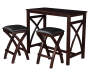 Black 3 Piece Breakfast Set with Table and Two Chairs on White Background