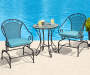 Black 3 Piece Cushioned Metal Bistro Set lifestyle image with props