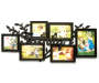 Black 4-Opening Family Collage Picture Frame with Leaves Silo
