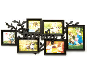 black 4 opening family collage picture frame with leaves big lots