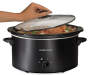 Black 5 Quart Portable Slow Cooker Lid Open with Hand Silo Image