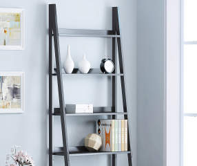Stratford Black 6 Shelf Ladder Bookcase Big Lots