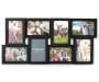 Black 8 Opening Collage Frame 4 Inches by 6 Inches Front View with Example Photos Silo Image