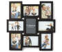 Black 9 Opening Collage Frame 4 Inches by 6 Inches Front View with Example Photos Silo Image