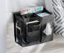 Black Bedside Caddy on Bed with Accessories