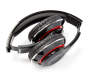 Black Bluetooth and FM Radio Headphones silo top view folded